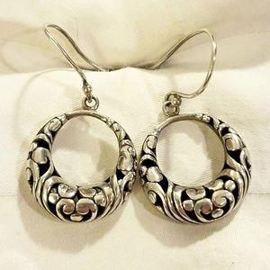 Vintage Bali Sterling Drop Earrings
